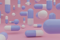 Many medicine pills floating in the air on a colorful background 3D Illustration