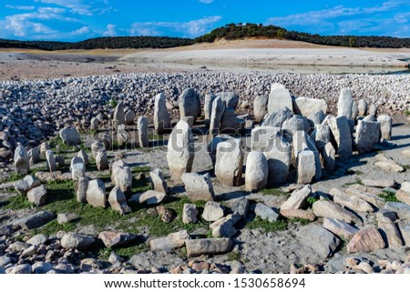 Many Megaliths forming a circle. A sacred place in Spain