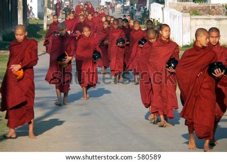 Many Monks Alms Collecting. Myanmar (Burma)