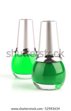 many new nails polish on white background