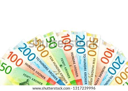 many new norwegian krone bank notes with copy space #1317239996