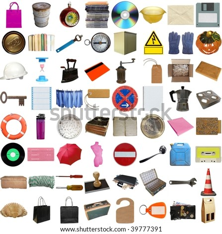 Many object isolated over white background (all pictures in the collage are mine)