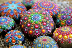 Many of Beautiful Dot mandala rocks