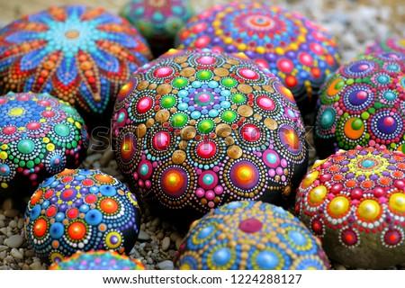 Many of Beautiful Dot mandala rocks Stock photo ©