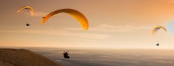 Many of paragliders flying in the evening sunrise.