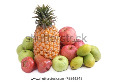 Many of the  fruits on white background(pineapple.mango.bell fruit.apple.guava)