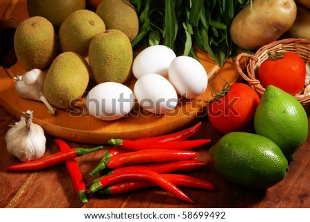 Many of the ingredients on the table