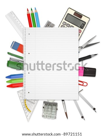 Many office tools on a white background