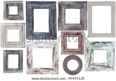 many old frames of rectangular and round