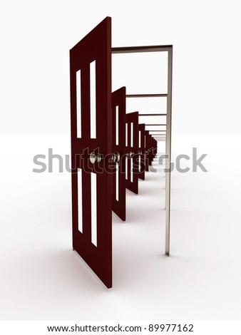 Many open doors isolated on white background. 3D image