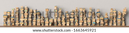 Many packages stacked up as delivery service and shipping concept, as a panorama background header Stock photo ©