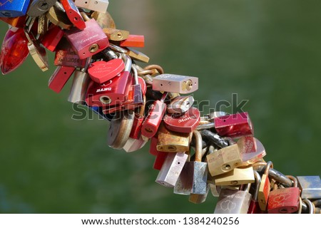 Many padlocks as a symbol of eternal loyalty