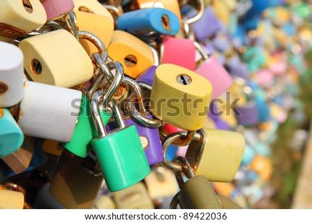 Many padlocks on the bridge, a symbol of eternal love