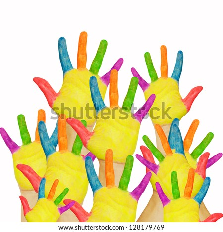 Many painted hands raised up. The concept of classroom, shopping or friendly group of people.  Ready for your text or logo. Isolated on white background