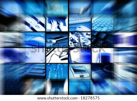 many panel screens showing technology themed images with motion blur effect