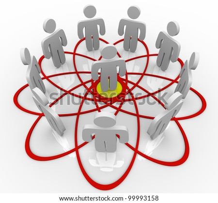 Many people connected in a venn diagram or social network with one common person in the hub or center as the core contact or friend connecting everyone