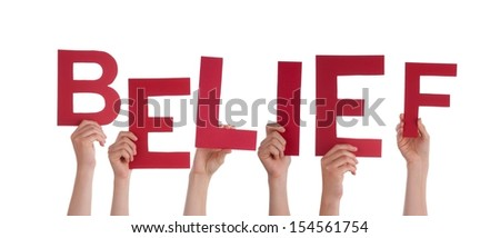 Many People Holding the Red Word Belief, Isolated
