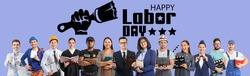 Many people of different professions and text HAPPY LABOR DAY on color background