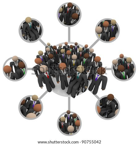 Many people of different races in business suits connected by links in a communication networking grid representing professional networking