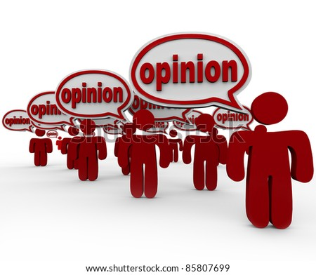 Many people talking and sharing their opinions with words in speech bubbles to communicate their criticism
