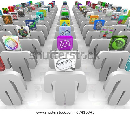 Many people with app tiles for heads stand in rows symbolizing the vast selection of the online software marketplace