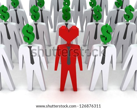 Many peoples with dollar-shaped head and one with heart-shaped head.