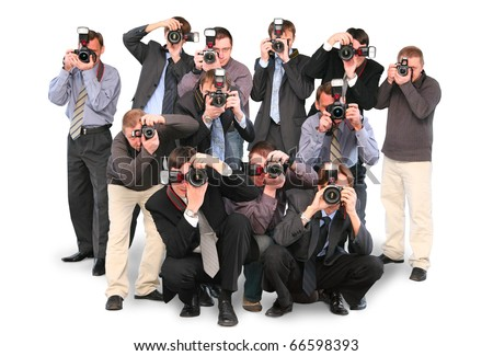 many photographers paparazzi double twelve group with cameras isolated on white collage Stock foto ©