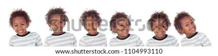 Many pictures of african child making silly faces isolated on white background