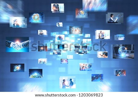 Many pictures with business thematics over abstract blue interface. Concept of hi tech and big data. Toned image double exposure
