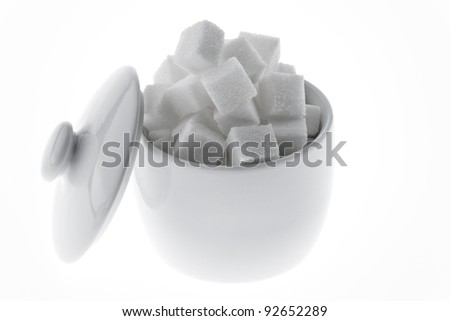 many pieces of sugar for a sweet isloiert on white background