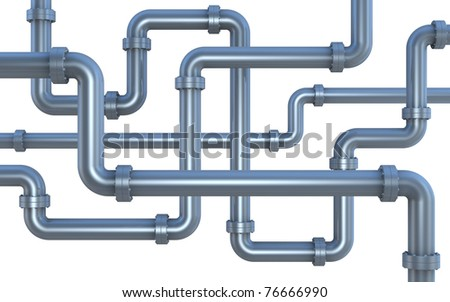 many pipes intersecting each other (3d render)