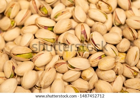 Many Pistachio Nuts As Pattern Or Background. Roasted And Salted Pistachios In Shell. Pistachios Close-Up. #1487452712