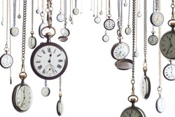 Many pocket old style clocks on watch chain