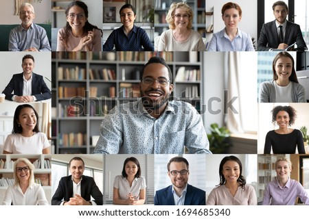 Many portraits faces of diverse young and aged people webcam view, while engaged in videoconference on-line meeting lead by african businessman leader. Group video call application easy usage concept