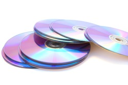 Many printable dvds isolated on white.