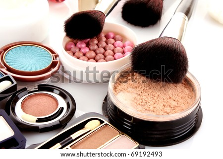 Many professional cosmetics for make up
