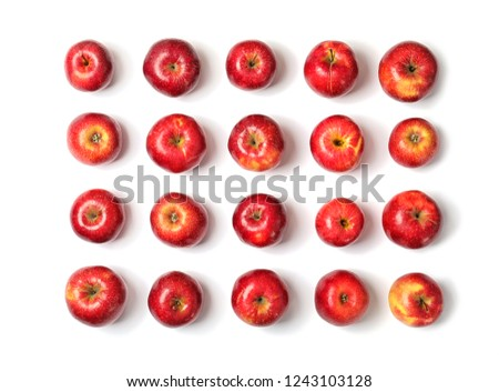Many red apples on white background, top view