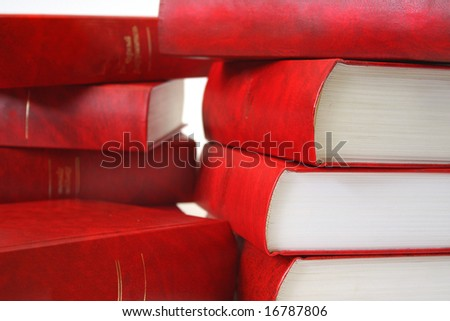Many red books combined by a pile