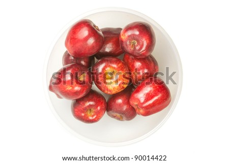 many red fresh apples  in bowl - stock photo