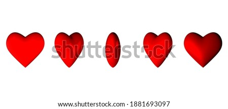 Many red hearts with reflection. Render. Valentin's Day. Love