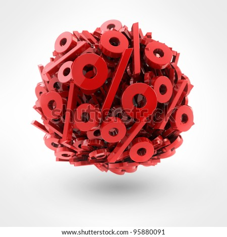 Many red percent in form of sphere isolated on white background