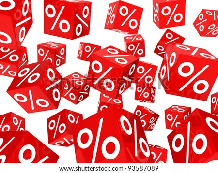 many red sale percent cubes fall down
