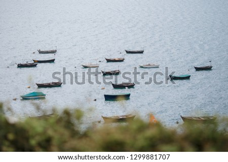 many retro boats near the shores of a lake #1299881707