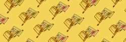 Many same shop trolley on yellow bright background. Modern mall concept. Top view repeat layout. Market cart trend wallpaper. Flatlay. Supermarket empty accessory