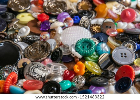 many scattered old color buttons. Buttons for needlework. #1521463322