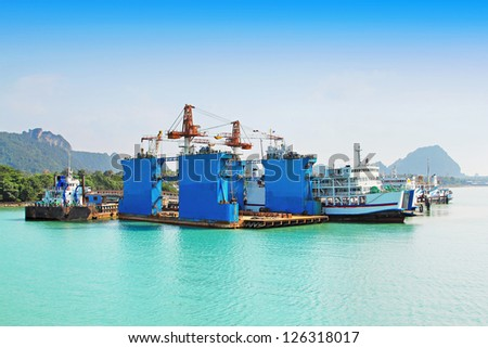 Many ships at the pier, Thailand