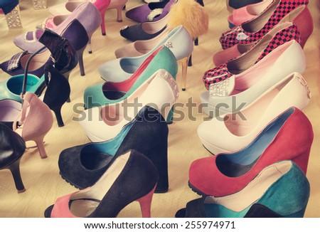 Many shoes at market