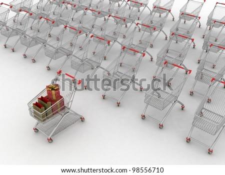 many shopping carts. 3d render. - stock photo