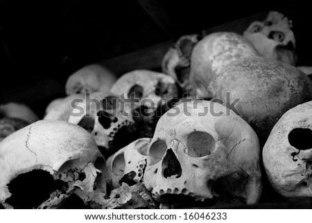 many skull in a cambodia museum named killing field