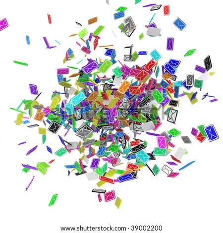 Many small 3d email message symbols, isolated